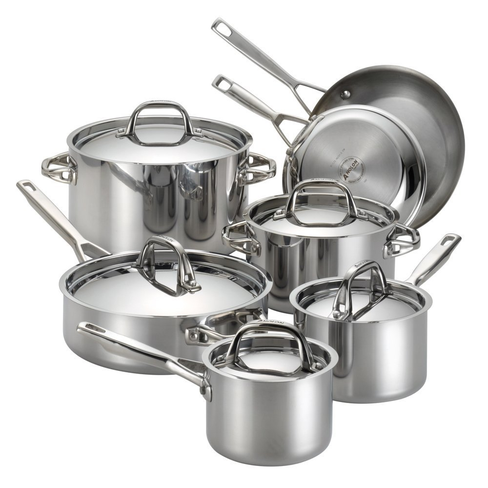 Anolon Tri-Ply Clad Stainless Steel 12-Piece Cookware