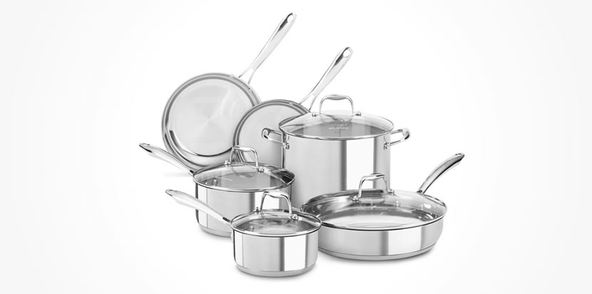 KitchenAid KCSS10LS, 10-Piece Cookware Set Review - Best Stainless Steel Cookware Sets Review