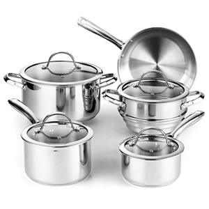 Cooks Standard 9-Piece Stainless Steel Cookware set - Best Stainless Steel Cookware Sets Under $100