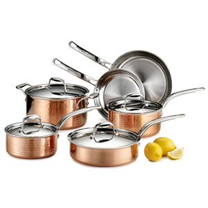 Lagostina Q554SA64 Martellata Tri-ply 10-Piece Copper Cookware Set